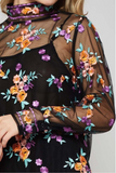 Allover Floral Embroidery top a semi-sheer mesh top featuring an allover floral embroidery,