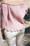 Off Shoulder Pink Polkadot Blouse  modest clothing Minneapolis, MN