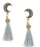Gold Crescent with Tassel Drop Earrings modest clothing Minneapolis, MN