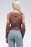 Almond Mahogany Floral Ruffle Top:modest clothing Minneapolis, MNAlmond Mahogany Floral Ruffle Top: Floral ruffle surplus top with shoulder cut outs and waist tassel tie.