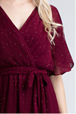 Burgundy Sparkle Wrap Dress modest clothing Minneapolis, MN