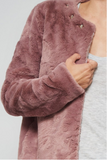 My Pink Fur Coat Well fitted, long sleeve, fur jacket featuring a front zipper, round neck, studs trim and long sleeves. This jacket is made with medium weight fur fabric that has very soft texture, is very warm and drapes beautifully.