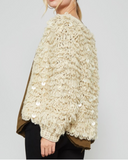 Some Like It Hot Well fitted, crochet knit, fur cardigan featuring open front, round neck, dropped shoulder, long sleeves and sequins trim detail. This cardigan is made with medium weight crochet knit fabric that has very soft texture, is very warm and drapes beautifully.