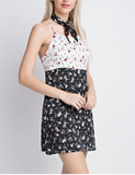 Contrast Floral Slip Dress with Scarf