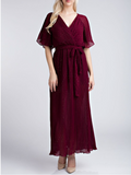 Burgundy Sparkle Wrap Dress
