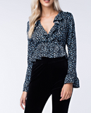 Mirthful Blue Ruffle Blouse