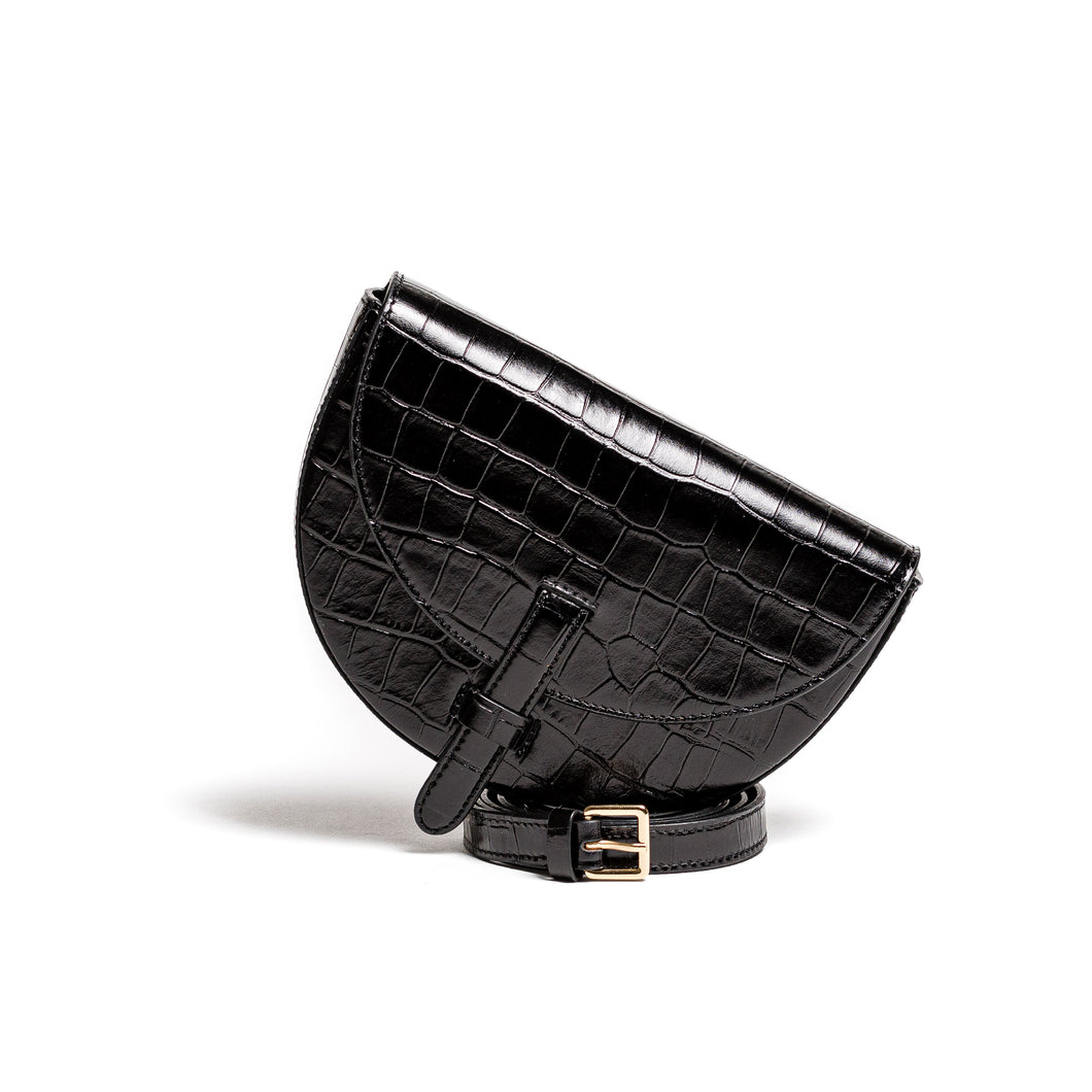 Belt Bag Convertible - Kroko tiefschwarz