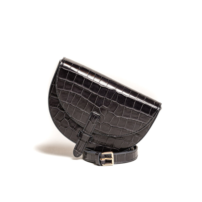 Belt Bag Convertible - Kroko schwarz-anthrazit