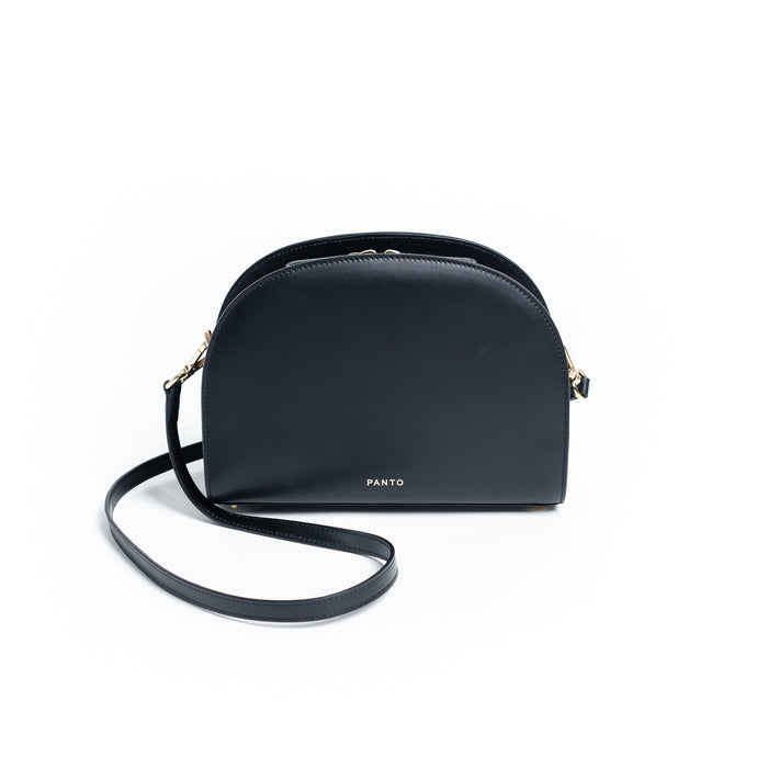 Half Moon Bag schwarz & Kroko anthrazit