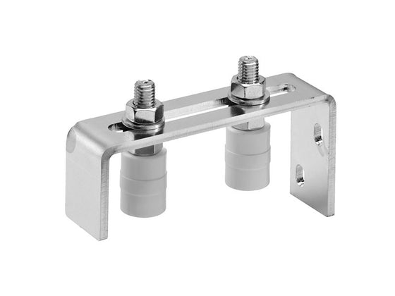 Set of 2 x 40mm x 30mm dia White Nylon Rollers With Steel Galvanized Mounting Bracket
