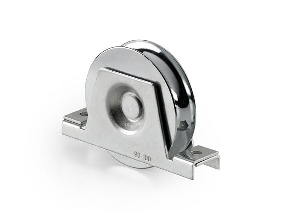 Sliding Gate Galvanized Steel 16mm U Groove Single Bearing Rebate 99mm Wheel With Support Bracket