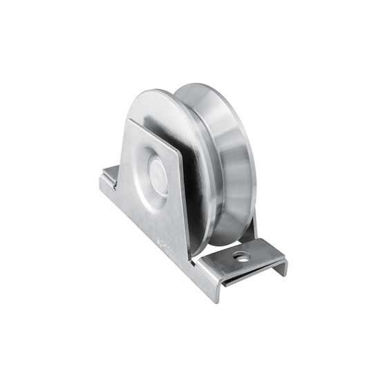 Sliding Gate Galvanized Steel 88mm V Groove Single Bearing Rebate Wheel With Support Bracket