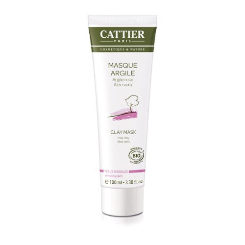 Cattier Organic Face Mask Pink Clay with Aloe Vera for Sensitive Skin 100 Ml