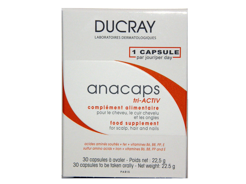 Ducray ANACAPS Tri-Activ 30 CAPSULES for Hair Loss (1 Month Treatment)