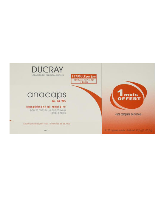Ducray Anacaps Tri-activ Capsules Anti Hair Loss Treatment for Fast Hair Growth 3x30caps - 3 Month Supply