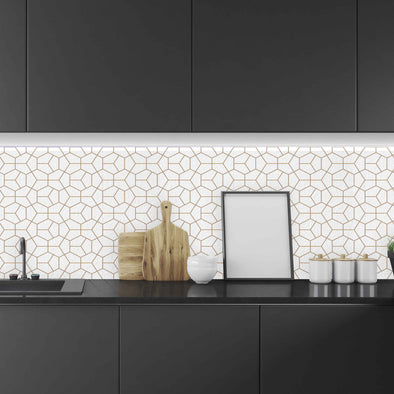 Gold Hexagon backsplash