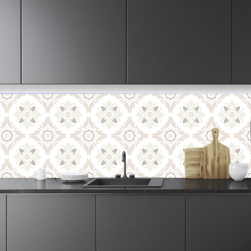 Cream Mediterranean Tile Backsplash