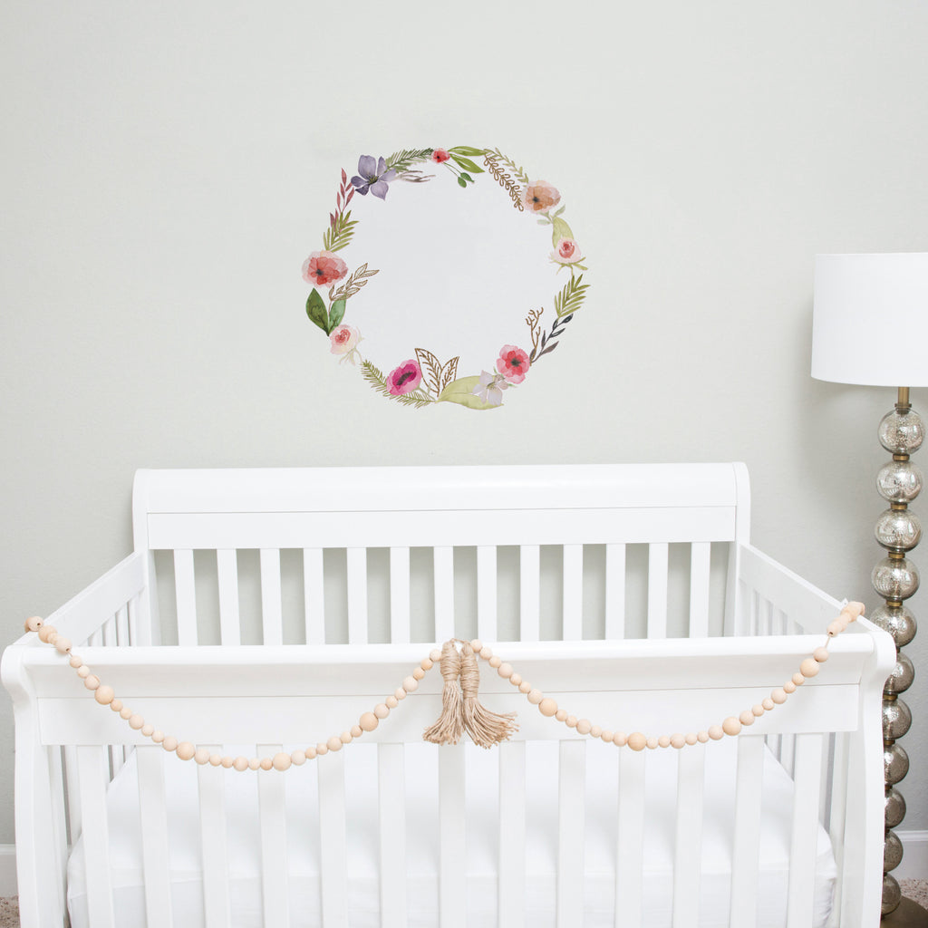 Pink and Gold Floral Wreath