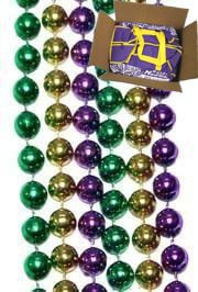 7mm 33in Purple, Green, Gold Mardi Gras Beads