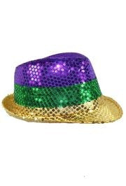 11in Long x 9in Wide Mardi Gras Color Sequin Fedora Hat