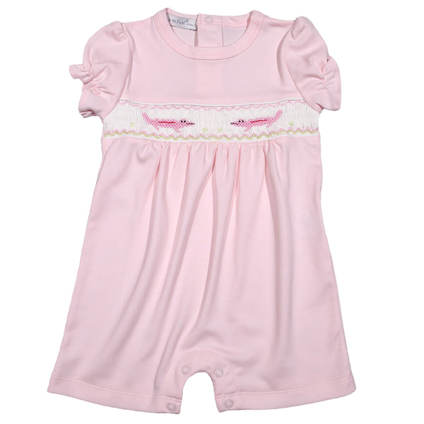 ALP-833 PINK HAND SMOCKED ALLIGATORS  ROMPER