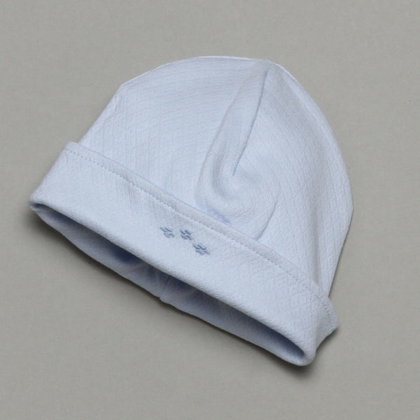 BJA-015 BJA-015 0-3m - BLUE JACKARD HAT 100% PIMA COTTON