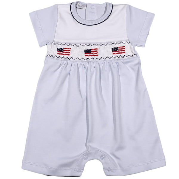USB-233 USA FLAGS HAND SMOCKED PIMA ROMPER ROMPERBLUE/WHITE