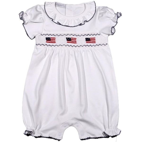 USG-433 USA FLAGS HAND SMOCKED PIMA ROMPER ROMPERBLUE/WHITE