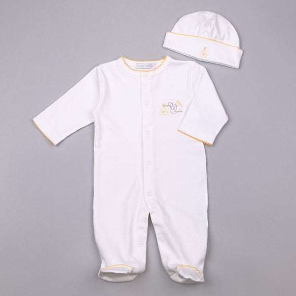 YST-114 WHITE AND YELLOW STORK FOOTIE WITH HAT