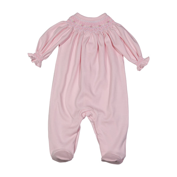 CAT-214 Cathy Pink hand smocked Pima bishop Footie
