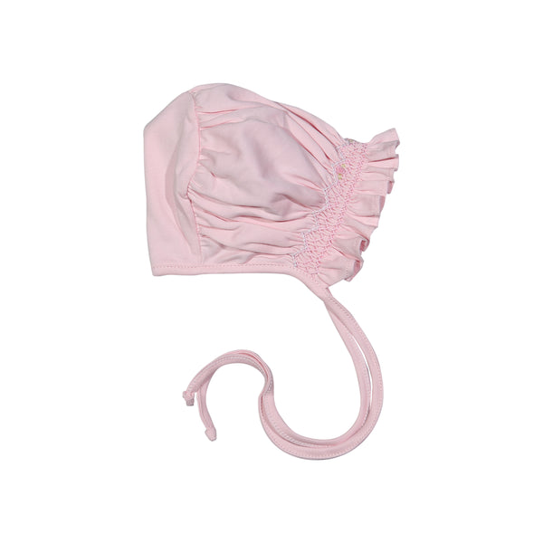 CAT-215 Cathy Pink hand smocked Pima Bonnet