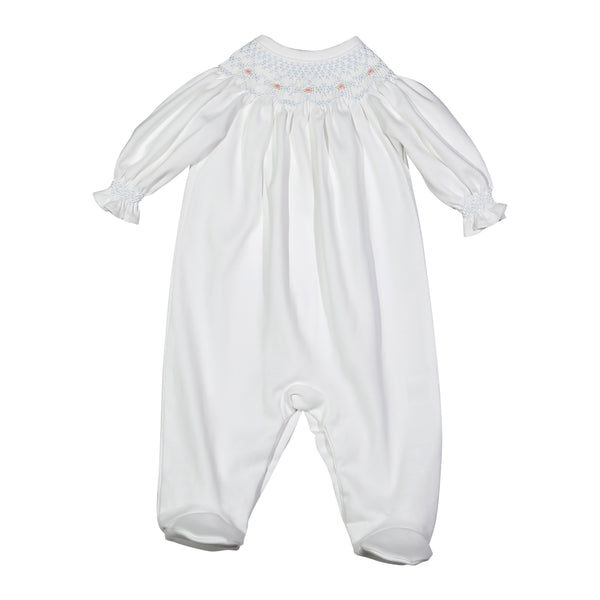 CLA-614 Claire White hand smocked Pima Bishop Footie