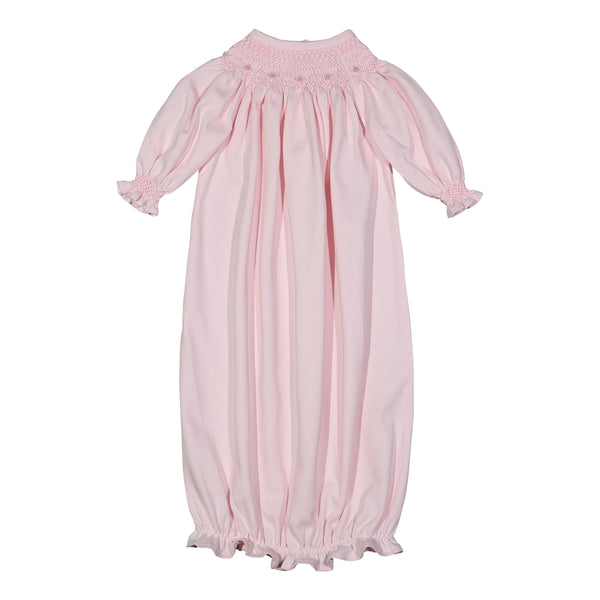 SAN-919 Sandi Pink hand smocked Pima bishop Gown