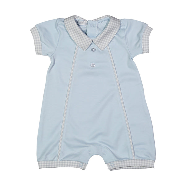 FYN-133 Fyn blue and grey gingham Pima Romper