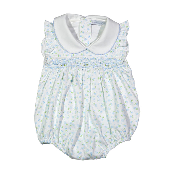 LES-330 LESLI HAND SMOCKED BLUE FLORAL PIMA HAND SMOCKED BUBBLE
