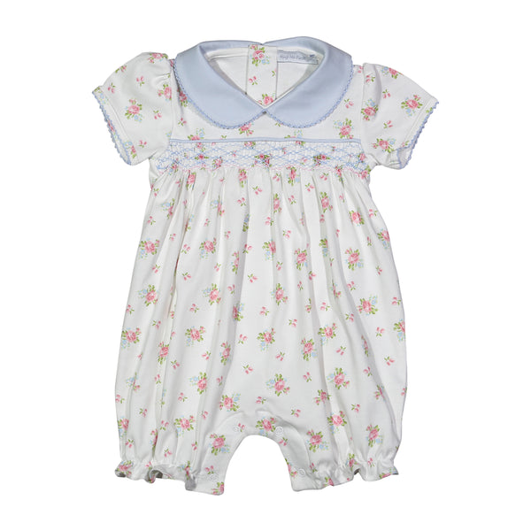 PAT-830 PATTY HAND SMOCKED BLUE FLORAL PIMA HAND SMOCKED PLAYSUIT