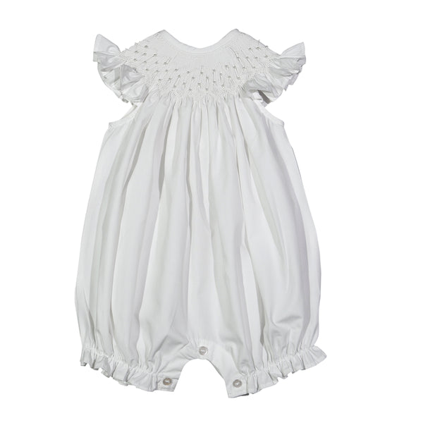 PRL-330 White Pearls hand smocked Bishop Bubble