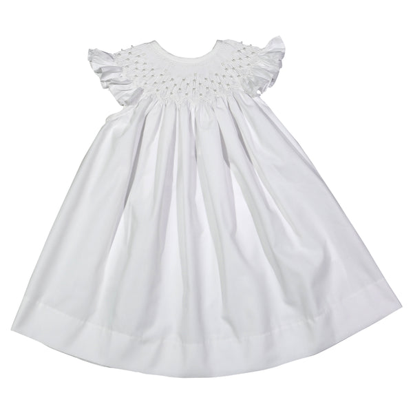 PRL-340 White Pearls hand smocked Bishop Dress
