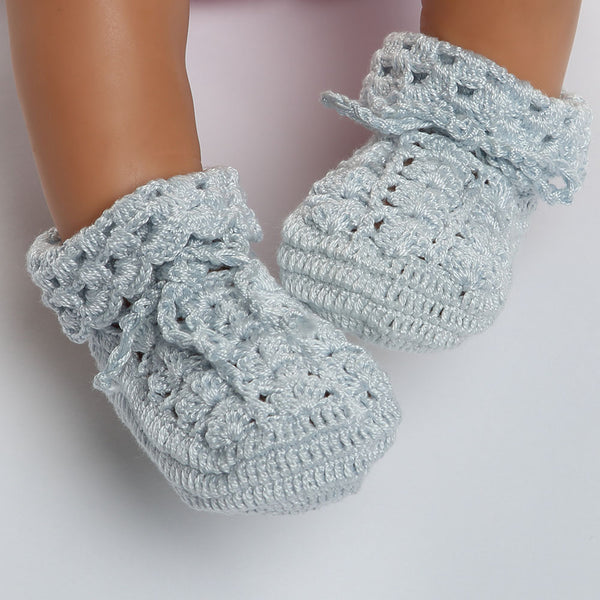 BAB-310 BLUE HAND CROCHET PIMA BOOTIES