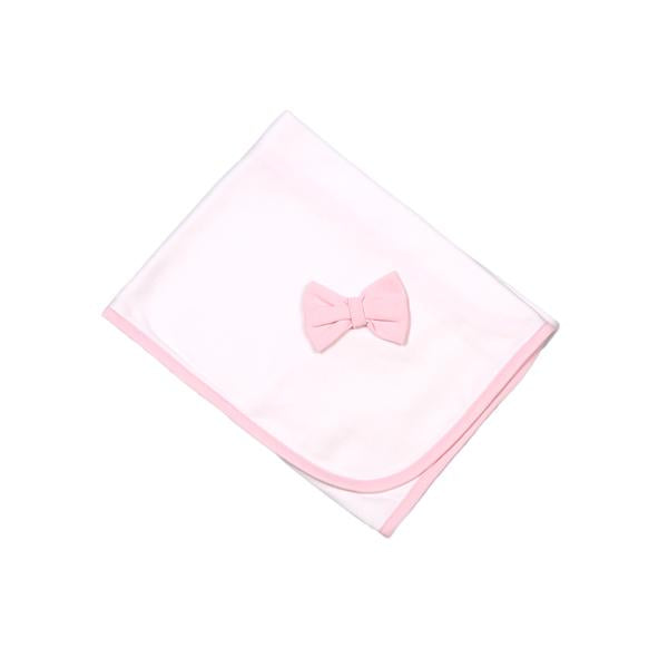 BOW-616 PINK/WHITE BOW BLANKET