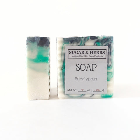 Sugar and herbs Eucalyptus, essential oil soap bar