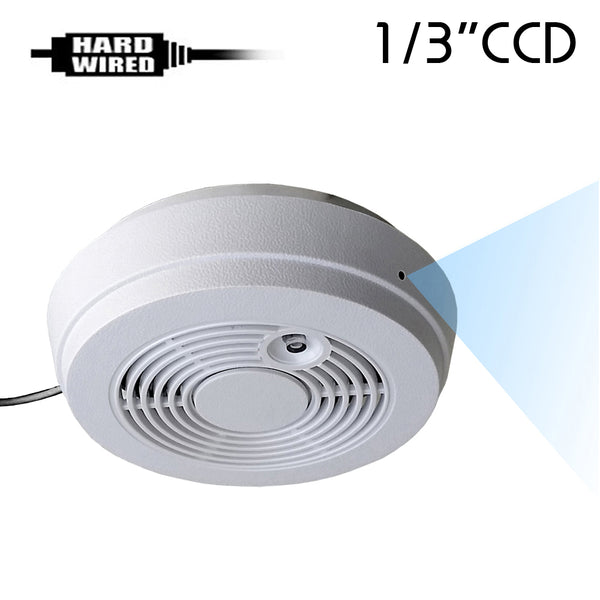 "CCD-402W : 700TVL 1/3"" CCD Spy Hidden Side-View Fake Smoke Detector Camera with 940nM Pinhole Lens"