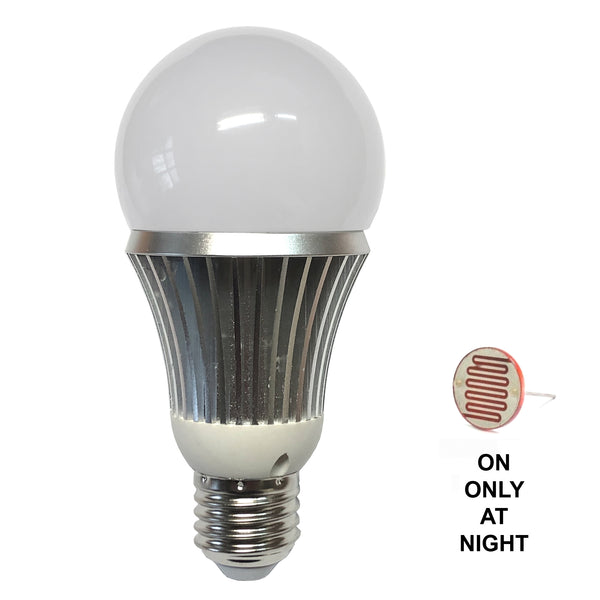 IR940BLB-7 : Total Invisible Super Wide 940nM IR Light Bulb Covert Lamp with Light Sensor(7 LED illuminators) 25ft range, 160 deg, 120VAC