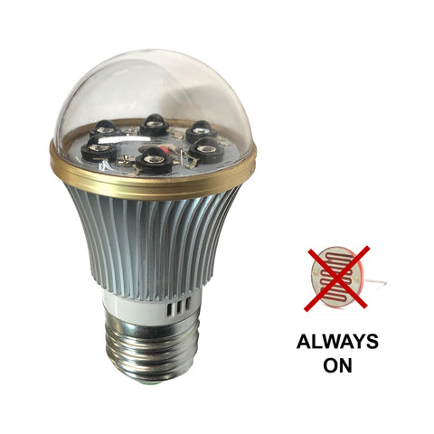 IR940BLB-6 : Total Invisible Super Wide 940nM IR Light Bulb Covert Lamp (6 LED illuminators, No light Sensor) 20ft range, 160 deg, 120VAC