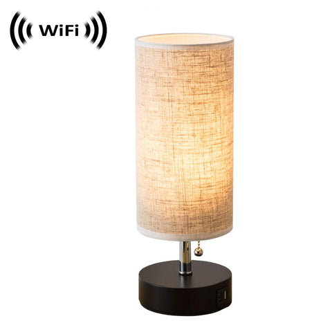 WF-210 : 1080p IMX323 Sony Chip Super low light Spy Camera with WiFi Digital IP Signal, Camera Hidden in a Quality Modern Lamp with USB Port (Wooden Base)