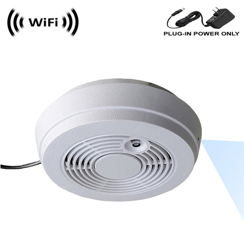 WF-402 : Sony 1080p IMX323 Chip Super Low Light Spy Camera with WiFi Digital IP Signal, Recording & Remote Internet Access, Camera Hidden in a Fake Smoke Detector with viewing and power options