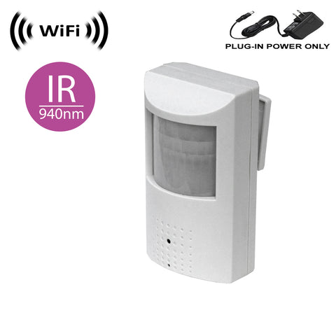 WF-450IR : Wireless Spy Camera with WiFi Digital IP Signal, Recording & Remote Internet Access (Camera Hidden in PIR Motion Detector) w/ 940nM Total Invisible 30ft Night Vision (Full View, no Hotspot)