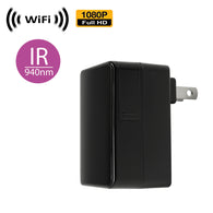WF-100IR : 1080P WiFi IP Wireless Black Box Plug-in USB Charger Spy Camera with Night Vision by SCS Enterprises ®