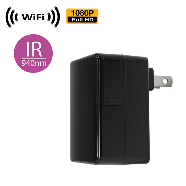 WF-100IR (Sorry no P2P) : 1080P WiFi IP Wireless Black Box Plug-in USB Charger Spy Camera with Night Vision by SCS Enterprises ®