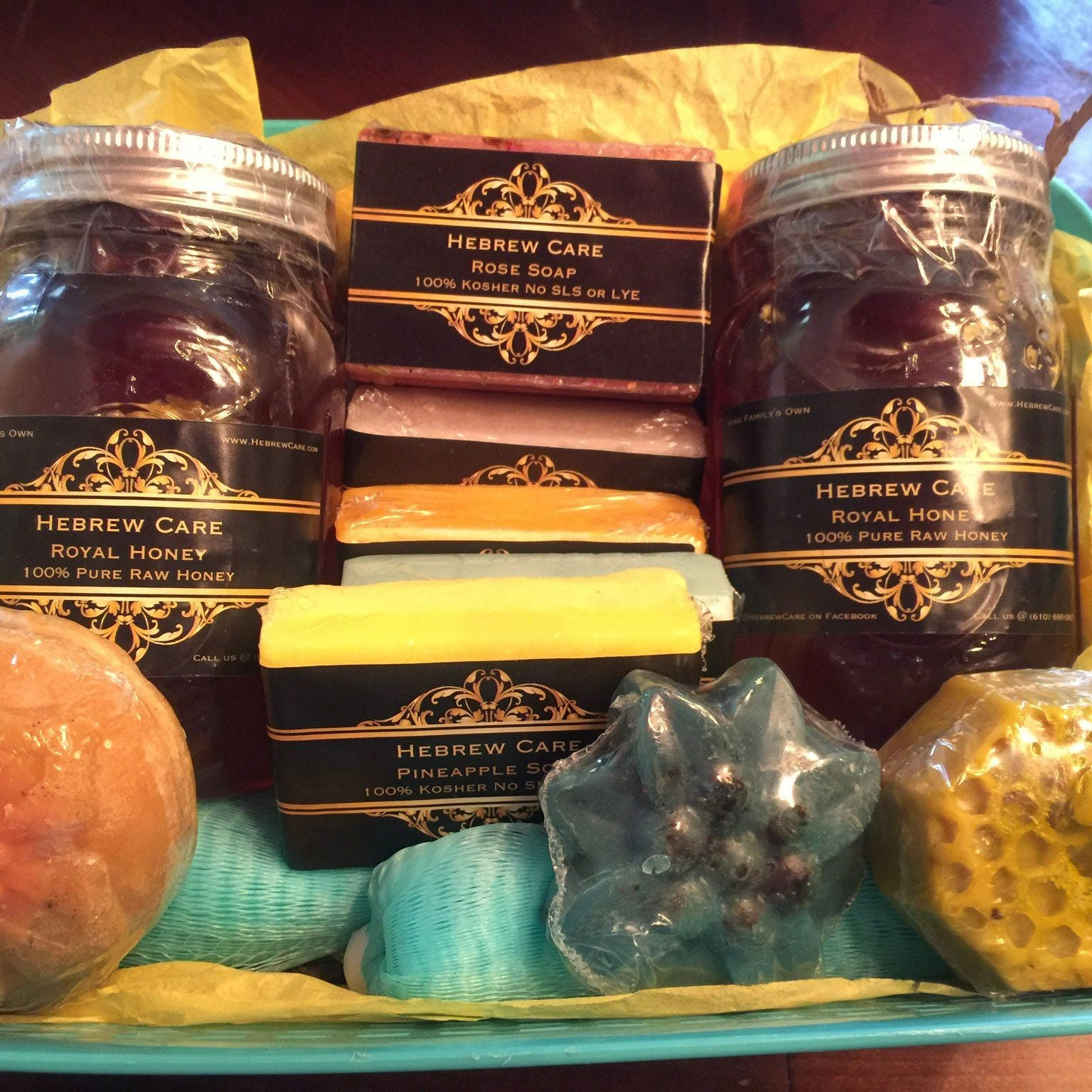 Hebrew Care Variety Pack- 2 Jars King's Royal Honey , 6 Bars of Soap + Bonus